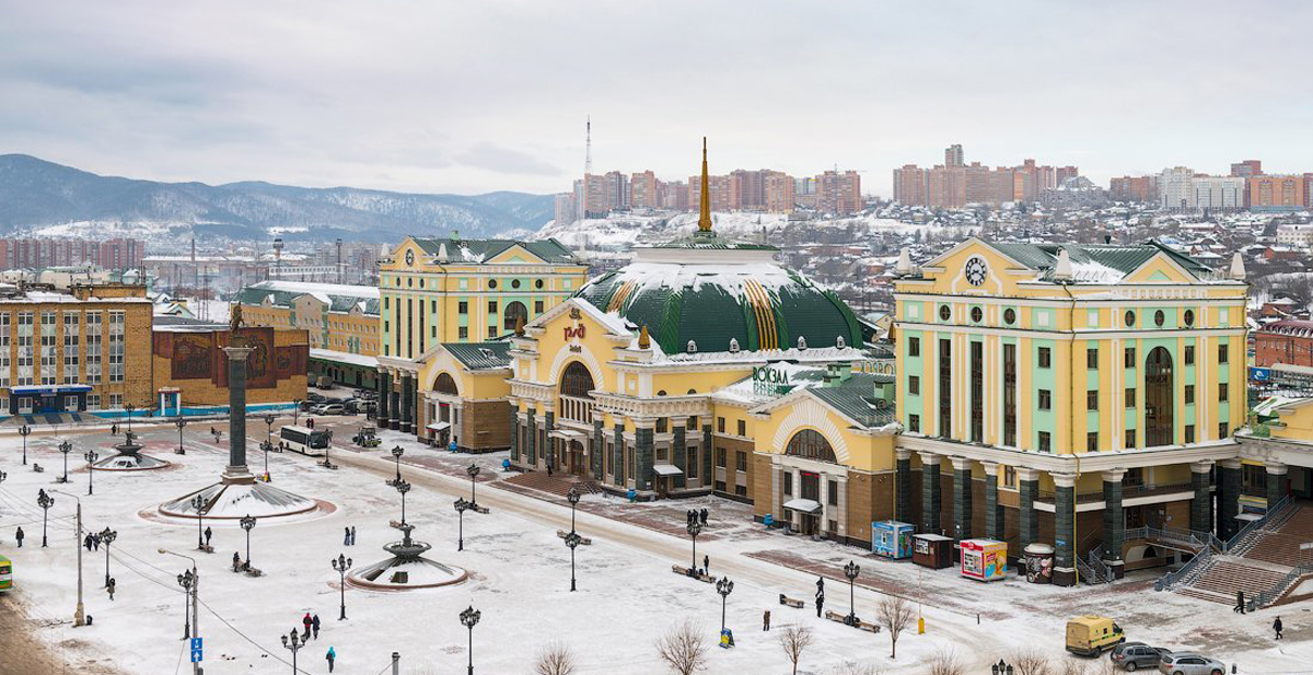 The railway station in Krasnoyarsk