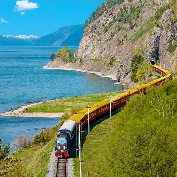Our train goes along the Baikal's shore