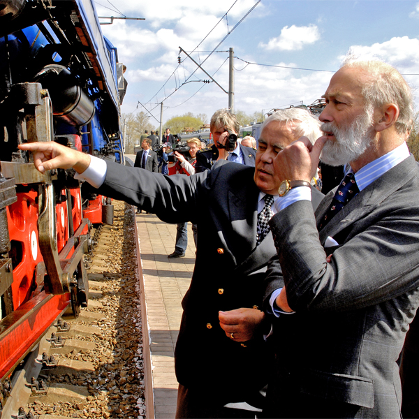 HRH Prince Michael of Kent at a presentation of the Golden Eagle train